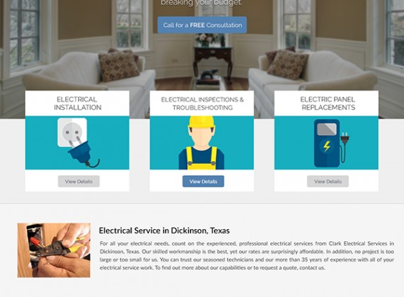 Clarke Electrical Services - Web Design by Custom A Design