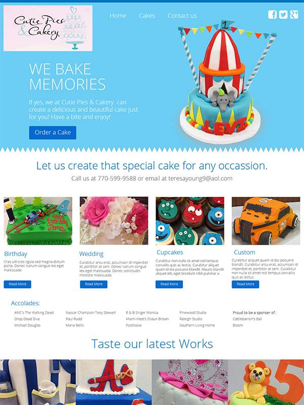 Cutie Pies Cakery - Web Design by Custom A Design