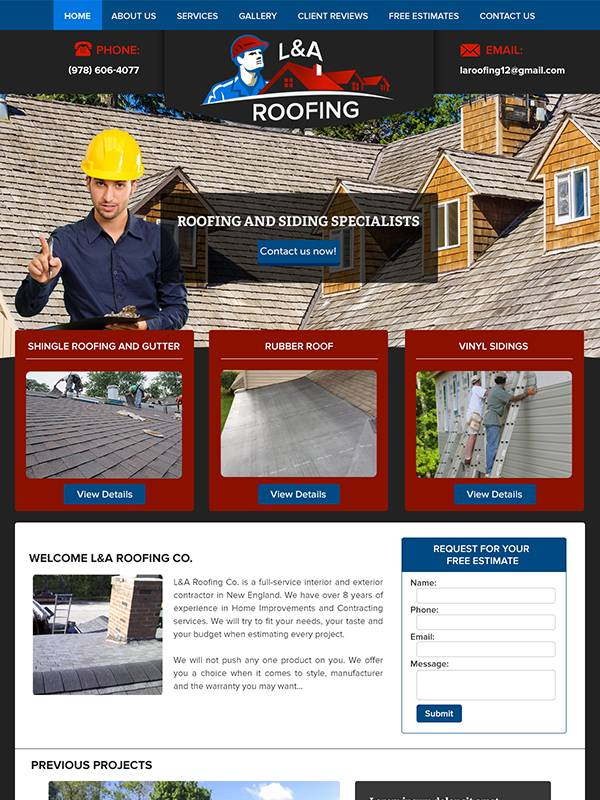 LA Roofing - Custom A Design Website