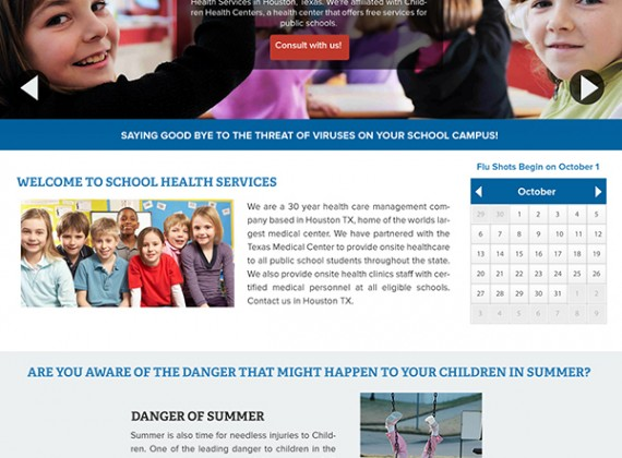 School Health Services - Website by Custom A Design