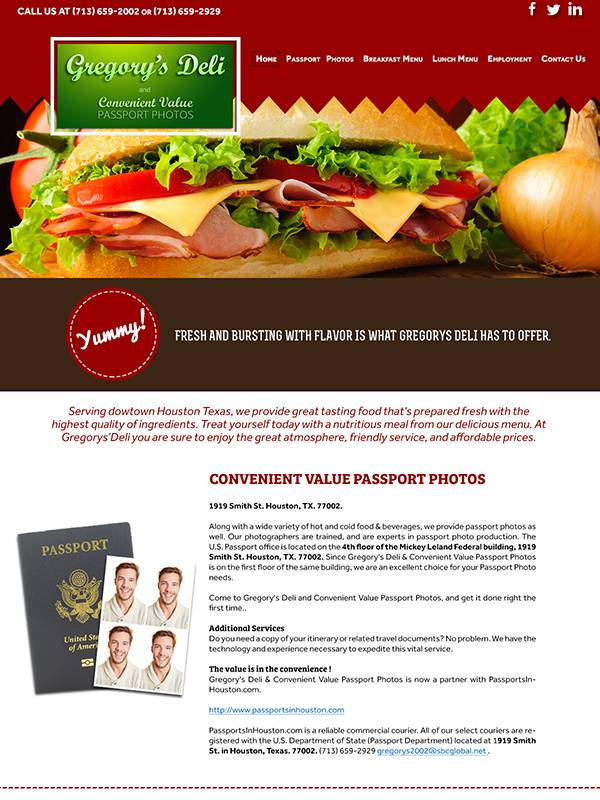 Gregory's Deli - Custom A Design Website