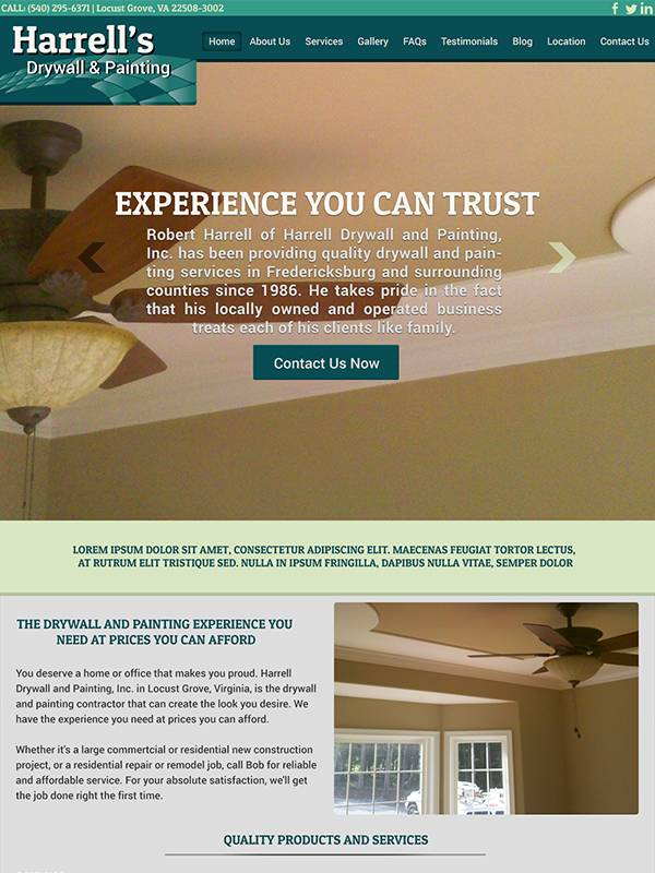 Harrell's Drywall and Painting - Custom A Design Website