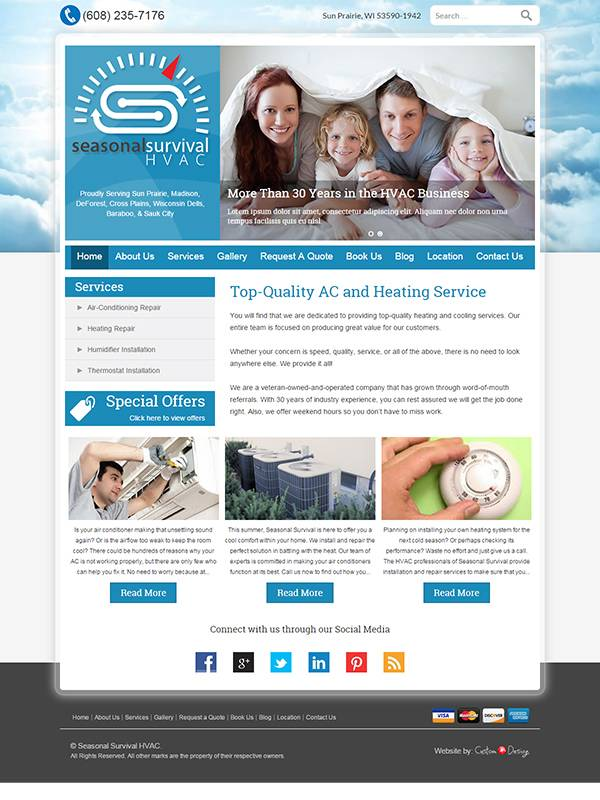 Seasonal Survival HVAC - Website Design by Custom A Design